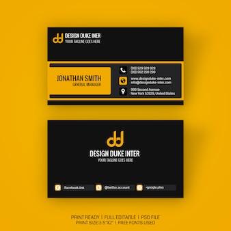 Maqueta de tarjeta de visita minimalista creativa
