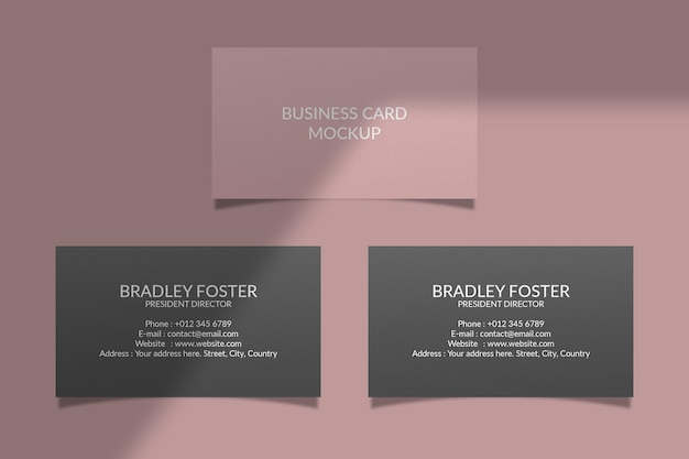 Maqueta de tarjeta de visita realista con superposición de sombras