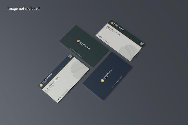 Maqueta de tarjeta de visita vertical y horizontal en perspectiva