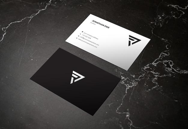 Maqueta de tarjeta de visita vertical de piedra de mármol oscuro
