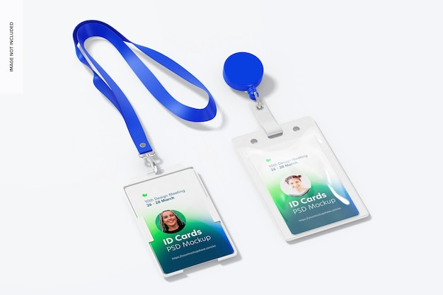 Maqueta de tarjetas de identificación verticales