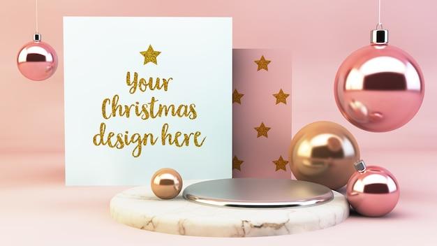 Maqueta de tarjetas de navidad sobre fondo mínimo rosa y dorado