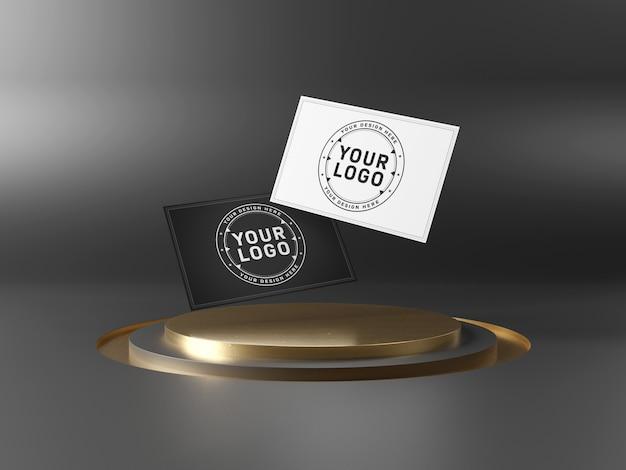 Maqueta de tarjetas de presentación flotantes en el escenario