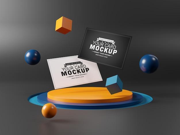 Maqueta de tarjetas de presentación flotantes en el podio del escenario