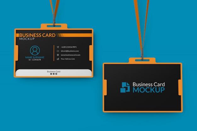 Maqueta de tarjetas de presentación en titular de identificación