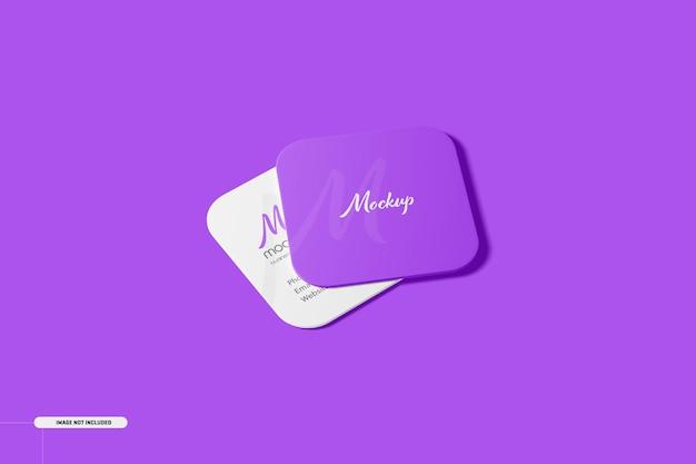 Maqueta de tarjetas de visita cuadradas de esquina redonda