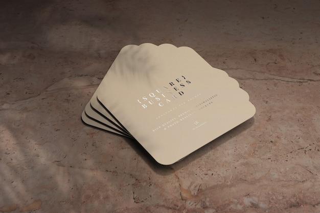 Maqueta de tarjetas de visita cuadradas de esquina redondeada
