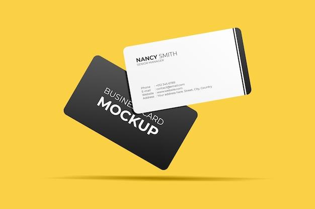 Maqueta de tarjetas de visita flotantes