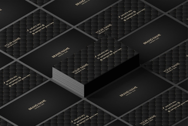 Maqueta de tarjetas de visita isométricas de lujo
