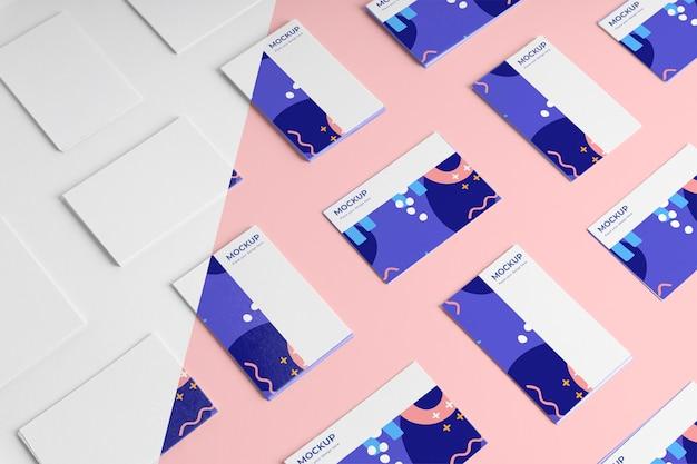 Maqueta de tarjetas de visita de patrón de vista superior