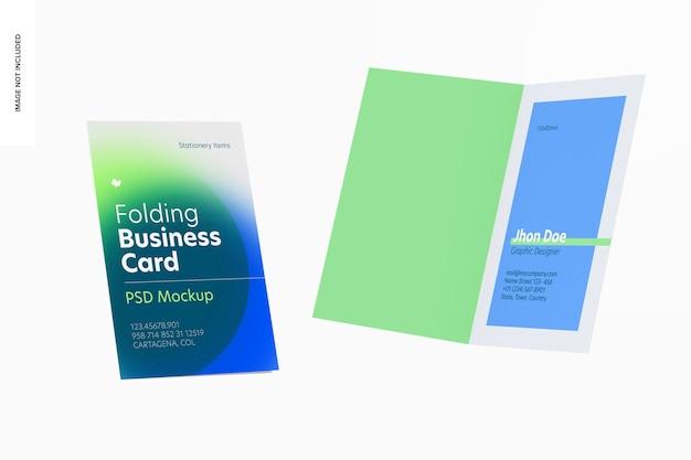 Maqueta de tarjetas de visita plegables, flotante