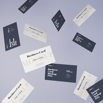 Maqueta de tarjetas de visita que caen