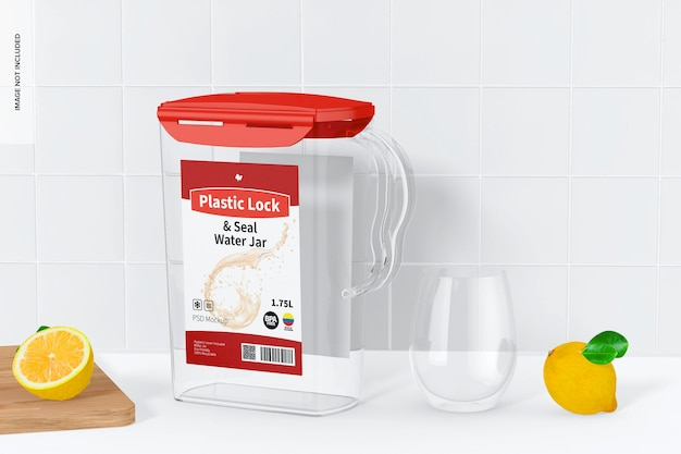 Maqueta de tarro de agua con cierre y sellado de plástico, vista frontal