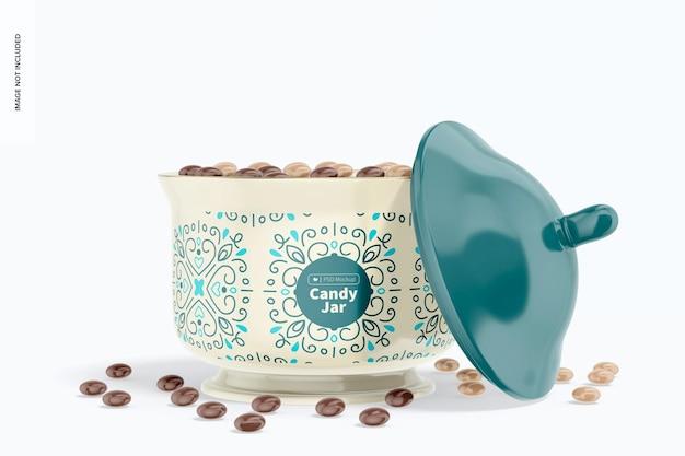 Maqueta de tarro de caramelo de cerámica, tapa inclinada