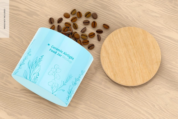 Maqueta de tarro de cerámica hermético para alimentos, vista superior