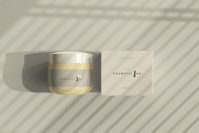 Maqueta de tarro cosmético y caja en sombras