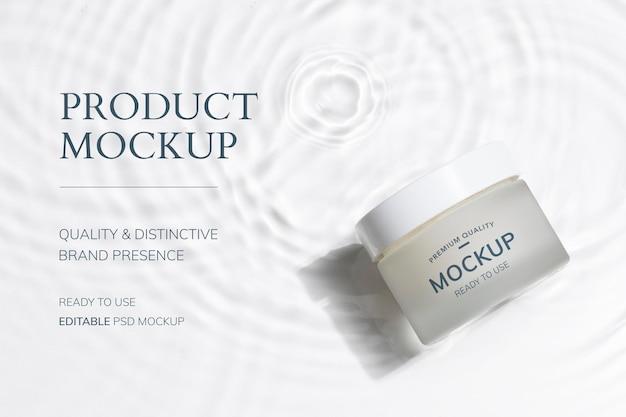 Maqueta de tarro cosmético psd, embalaje de productos para belleza y cuidado de la piel.
