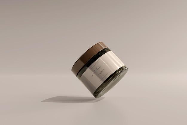 Maqueta de tarro cosmético de vidrio ámbar