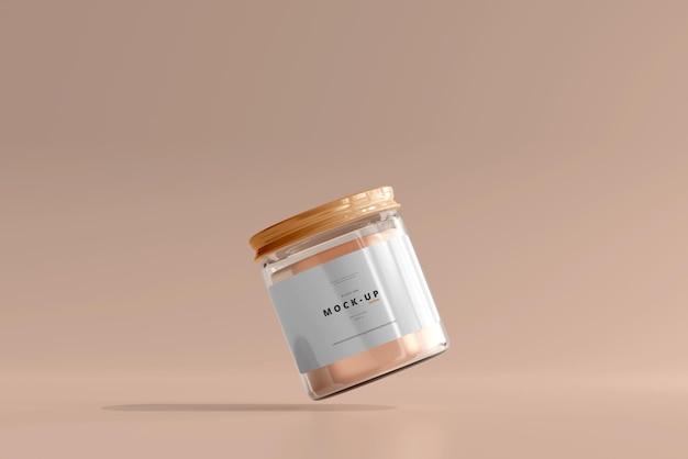 Maqueta de tarro cosmético de vidrio