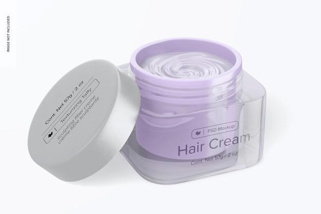 Maqueta de tarro de crema para el cabello de vidrio, abierto