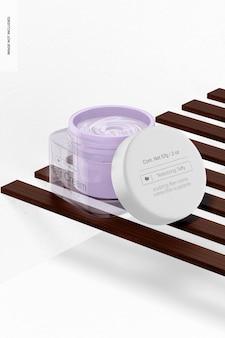 Maqueta de tarro de crema para el cabello de vidrio, vista izquierda
