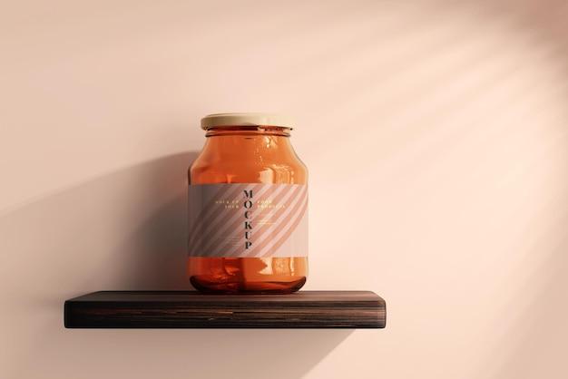 Maqueta de tarro de cristal de mermelada