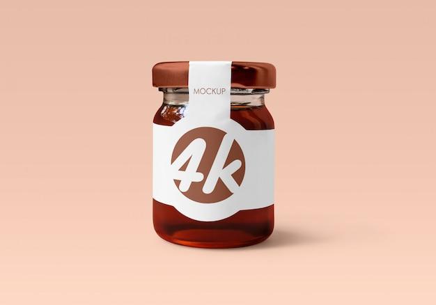 Maqueta de tarro de cristal de miel