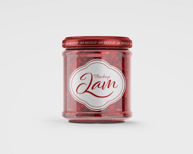 Maqueta de tarro de mermelada de frambuesa