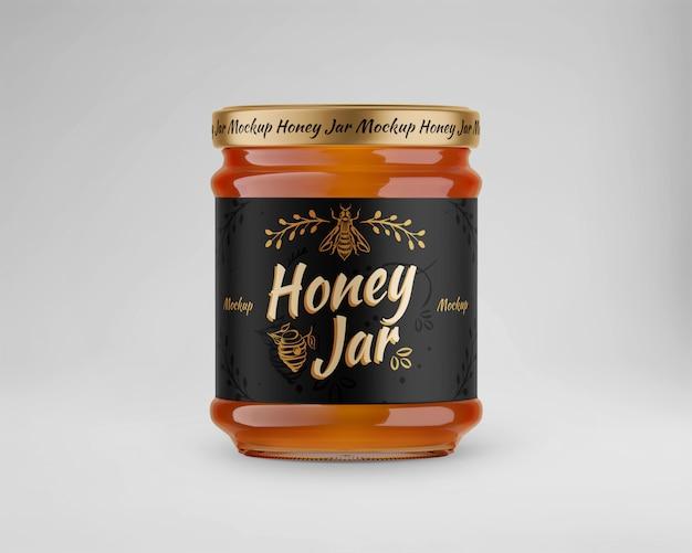 Maqueta de tarro de miel de vidrio