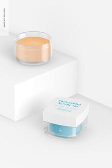 Maqueta de tarros acrílicos de crema facial, arriba y abajo