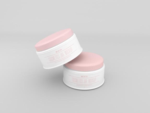 Maqueta de tarros de crema cosmética