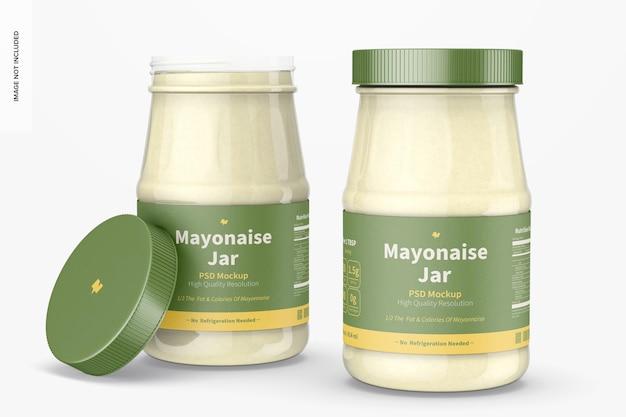 Maqueta de tarros de mayonesa de 14 oz, abiertos y cerrados