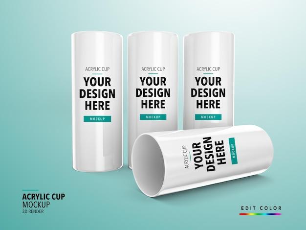 Maqueta de taza de acrílico 3d render realista trago largo