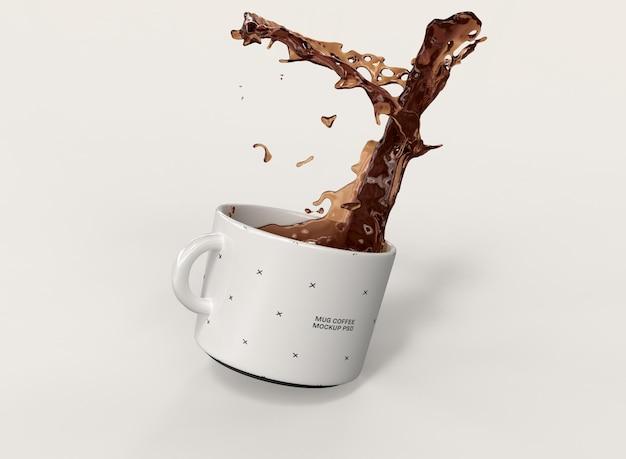 Maqueta de taza de café 3d con splash