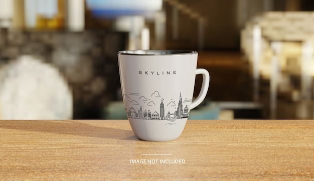 Maqueta de taza de café blanco de cerámica con fondo de salón