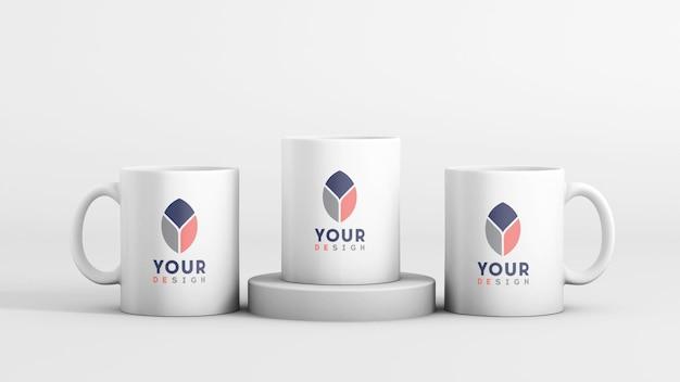 Maqueta de taza de café de cerámica blanca mínima