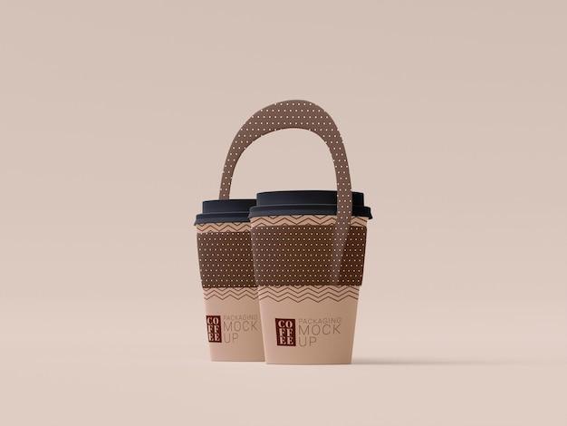 Maqueta de taza de café desechable para llevar