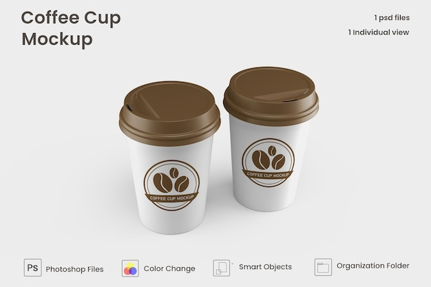 Maqueta de taza de café de papel para llevar premium psd