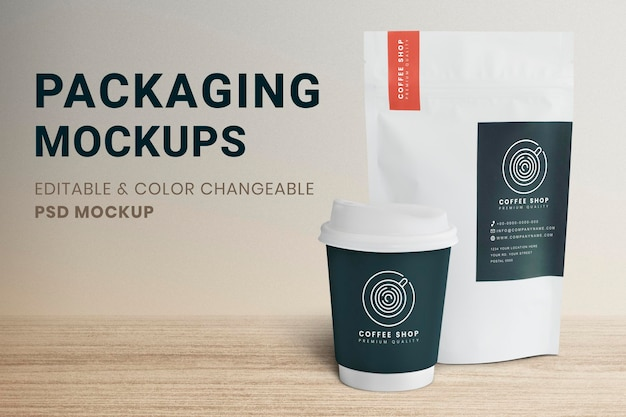 Maqueta de taza de café psd con bolsa de embalaje