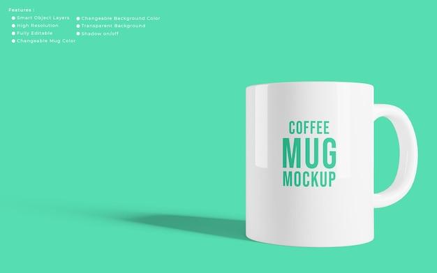 Maqueta de taza de café realista minimalista con color de fondo editable