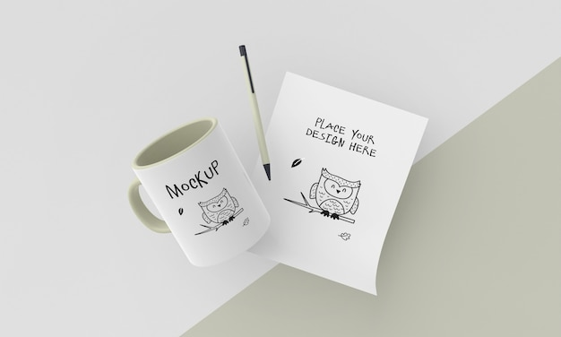 Maqueta de taza de cerámica con diseño personalizado