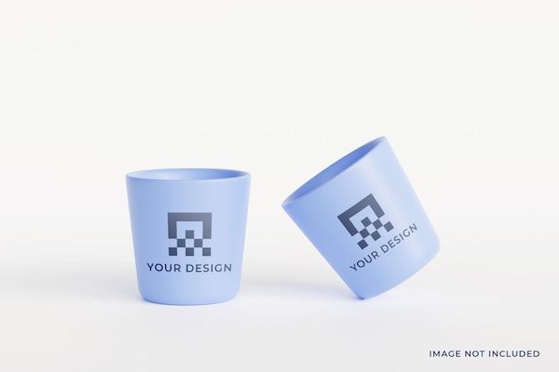 Maqueta de taza de cerámica minimalista premium psd