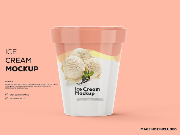 Maqueta de taza de helado