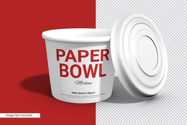 Maqueta de taza de tazón de papel de etiqueta con tapa aislada