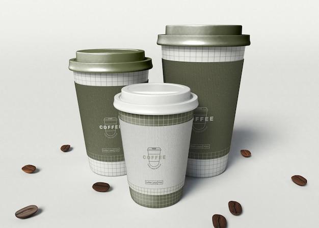 Maqueta de tazas de café para llevar