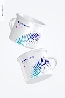 Maqueta de tazas esmaltadas, flotante