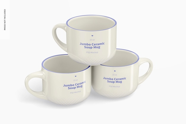 Maqueta de tazas jumbo de cerámica para sopa de 15 oz