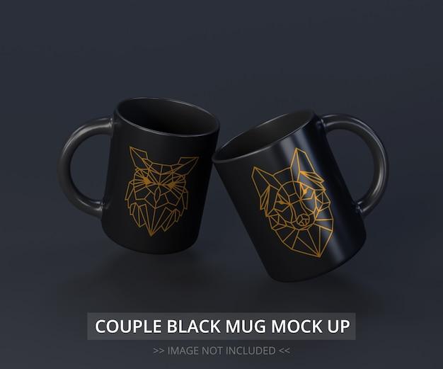 Maqueta de tazas negras realistas volando