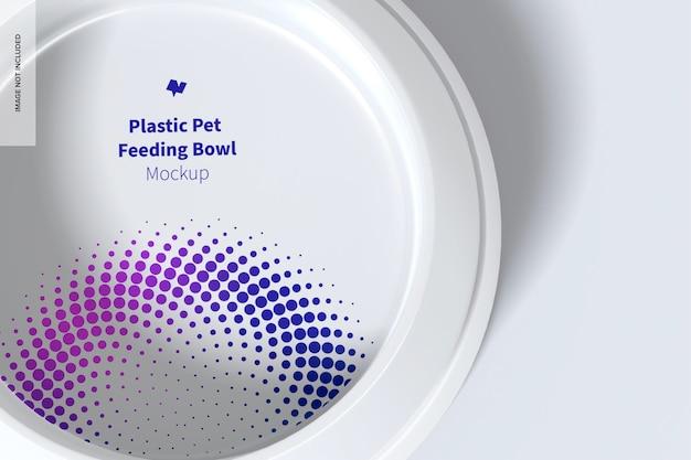 Maqueta de tazón de alimentación de plástico para mascotas, vista superior