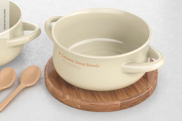 Maqueta de tazones de sopa de cerámica con asas, en superficie